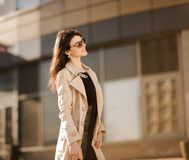 Portrait of a promising business woman on the background of the city. Promising business woman on the background of the city.the photo has a empty space for Royalty Free Stock Image