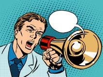 Promoção da política do megafone do homem Imagens de Stock