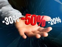 Promoção de vendas 20% 30% e 50% que voam sobre uma relação - Shopp Foto de Stock