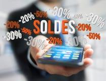 Promoção de vendas 20% 30% e 50% que voam sobre uma relação - Shopp Imagens de Stock