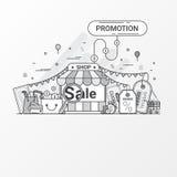 Promoção para o conceito da venda Este grupo contém elementos do ícone, vale, etiqueta do disconto, loja em linha, loja, saco de  ilustração stock