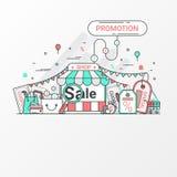 Promoção para o conceito da venda Este grupo contém elementos do ícone, vale, etiqueta do disconto, loja em linha, loja, saco de  ilustração do vetor