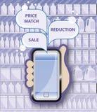Promoções móveis do mercado Fotos de Stock