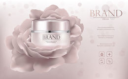 Promo ads sample with creme jar and flower Royalty Free Stock Images