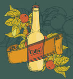 Promo card for cider season with beautiful branch of apple tree and bottle of cider Royalty Free Stock Photo