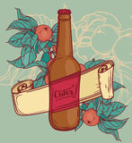 Promo card for cider season with beautiful branch of apple tree and bottle of cider Royalty Free Stock Photography
