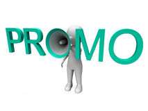 Promo Character Shows Sale Offer And Discounts Royalty Free Stock Image