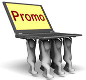 Promo Characters Laptop Shows Promotion Clearance And Reductions Royalty Free Stock Photo