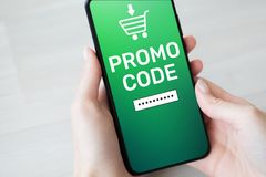 Promo code Discount coupon number field on mobile phone screen. Business and marketing concept. royalty free stock images