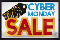Promo for Cyber Monday in a Shiny Electronic Screen, Vector Illustration Stock Photos