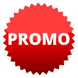 Promo de bouton rouge Photo stock
