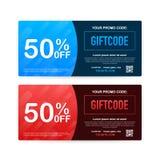 Κώδικας Promo Διανυσματική απόδειξη δώρων με τον κώδικα δελτίων Υπόβαθρο καρτών ασφαλίστρου eGift για το ηλεκτρονικό εμπόριο, on- απεικόνιση αποθεμάτων