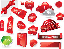 Promo elements. Vector promotional red elements set Stock Image