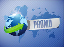 Promo globe message over a world map Royalty Free Stock Image