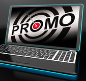 Promo On Laptop Shows Special Promotions Stock Image