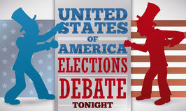 Promo with Men Ready to Fight in the American Presidential Debate, Vector Illustration. Banner with the silhouette of two contenders with top hats ready for the Royalty Free Stock Image