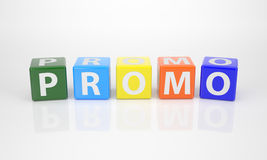 Promo out of multicolored Letter Dices Royalty Free Stock Photos