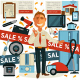 Promo sale and salesman promoter in home appliances shop vector design Stock Image