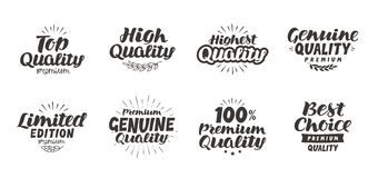 Promo set icons or symbols. Hand-drawn beautiful lettering. High quality, premium, best choice, genuine, limited edition, top Royalty Free Stock Photos