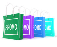 Promo Shopping Bags Shows Discount Reduction Stock Photo