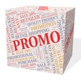 Promo-Würfel zeigt Einsparungen billig und Rabatte vektor abbildung