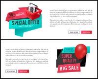 Promoaffischer för specialt erbjudande, halva prisrabatter vektor illustrationer