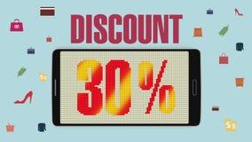 Promoción de la venta, descuento el 30%, alarma eficaz de la venta version2 ilustración del vector