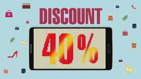 Promoción de la venta, descuento el 40%, alarma eficaz de la venta version2 ilustración del vector