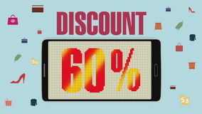 Promoción de la venta, descuento el 60%, alarma eficaz de la venta version2 stock de ilustración