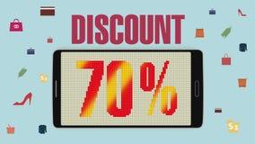 Promoción de la venta, descuento el 70%, alarma eficaz de la venta version2 ilustración del vector