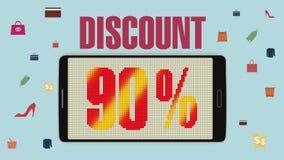 Promoción de la venta, descuento el 90%, alarma eficaz de la venta version2 ilustración del vector