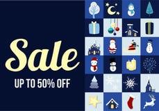 Promoción de venta del fondo de la tarjeta gráfica de la Feliz Navidad Fotografía de archivo