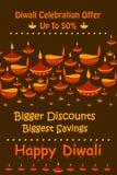 Promoción de venta feliz del descuento de Diwali ilustración del vector