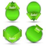 Promoción de venta verde de etiqueta Fotografía de archivo libre de regalías