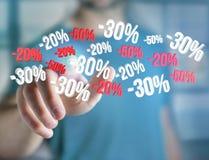 Promoción de ventas el 20% el 30% y el 50% que vuela sobre un interfaz - Shopp Imagen de archivo libre de regalías