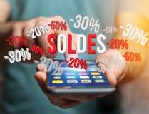 Promoción de ventas el 20% el 30% y el 50% que vuela sobre un interfaz - Shopp Imágenes de archivo libres de regalías