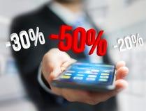 Promoción de ventas el 20% el 30% y el 50% que vuela sobre un interfaz - Shopp Imagen de archivo