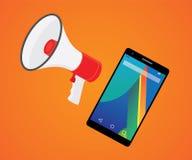Promoción móvil del vendedor con smartphone y el megáfono Imagenes de archivo