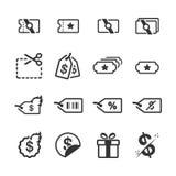 Promociones y sistema del icono del descuento libre illustration