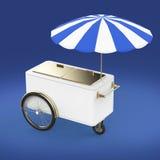 Promocja odpierająca na kołach z parasolem, jedzenie, lody, hot dog pchnięcia fury Detalicznego handlu stojak odpłaca się ilustracja wektor