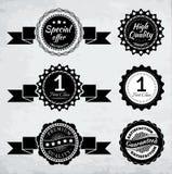 Promocyjne odznaki w czarny i biały ilustracji