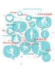 Promocyjny gym, sprawność fizyczna, sportowe biznesowe ikony/. Zdjęcie Stock