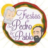 Promocyjny projekt dla świętych Peter i Paul świętowania w hiszpańszczyznach, Wektorowa ilustracja Zdjęcia Stock