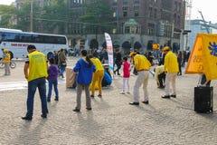 Promocyjny tana flashmob na tama kwadracie w Amsterdam Nethe Obraz Stock