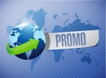 Promokugelmitteilung über einer Weltkarte Lizenzfreies Stockbild