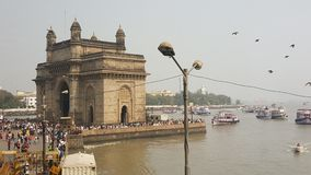Promonade of Gateway of India, Mumbai. The Gateway of India is an arch monument built during the 20th century in Bombay, India. The monument was erected to Stock Images