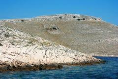 Promontoire aux îles de Kornati, Croatie Photos stock