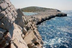 Promontoire aux îles de Kornati, Croatie Photos libres de droits
