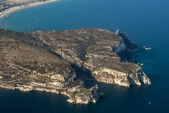 Promontory of Calamosca in Cagliari, Sardinia, Italy from the ai. Rplane. Top view Stock Images