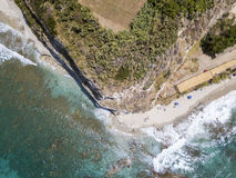 Promontory, coast, cliff, cliff overlooking the sea, Ricadi, Cape Vaticano, Calabria. Aerial view Stock Photos